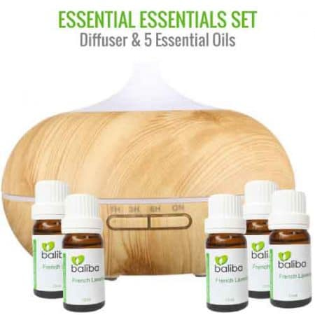essential oil set with five essential oils and diffuser